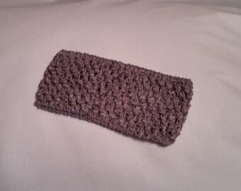 Pewter Crochet Headband, Pewter Headband, 2.75 Inch pewter crochet headband, pewter 2.75 inch headband, pewter headband, gray headband
