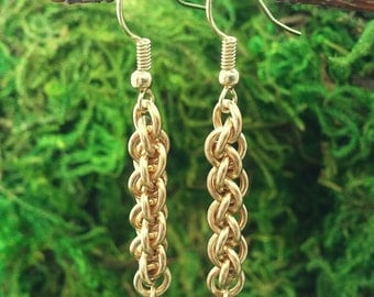Golden Moss: Solid brass Jens Pind Linkage earrings with moss green Czech beads