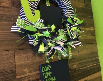 Hospital Door Hanger, baby boy lime/navy wreath, hospital door ribbon wreath, birth announcement