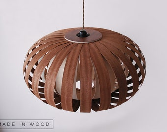Pendant Light Wood Lamp With Ash Veneer Twisted By
