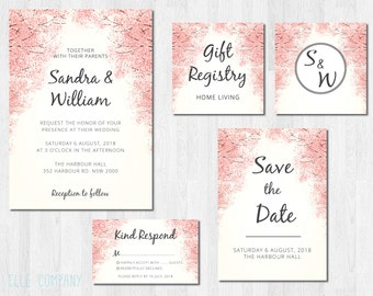 Oriental Wedding Invitation Suite Printable