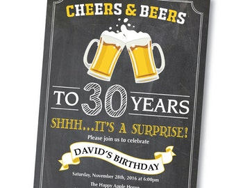 Surprise 30th Birthday Invitation. Cheers and beers to 30 years. Chalkboard. Birthday Party Invite. Men or Women Bday. Printable Digital.