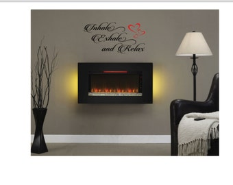 "WALL DECAL ""Inhale Exhale and Relax"" Bathroom Livingroom Bedroom Den Office Decor"