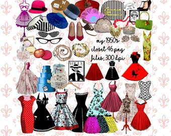 My 1950's Closet Clipart, 46 png files, 300 dpi, 1950's Women's Items, Dresses, Cosmetics, Hat Boxes, Hats,Poodle Skirt,  Commercial OK