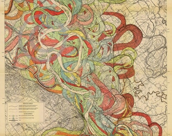1944 Fisk Mississippi Meander Map Ancient River Sheet Louisiana Missouri 6 of 15- Reprint