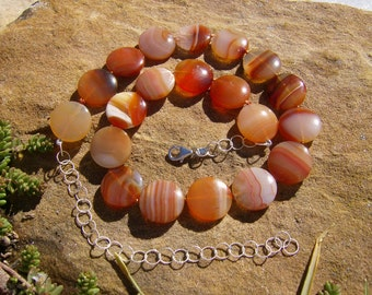Red Agate Coin Necklace