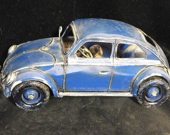 Handmade Volkswagon Bug-- tin folk art car model or toy