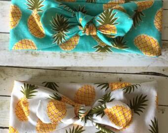 Pineapple Top Knot Headband / Twisted turban headband / Aqua Pineapple / White Pineapple / Dole whip