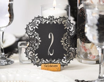 Table Numbers Black Laser Cut Wedding Reception Table Number Cards 1 To 10