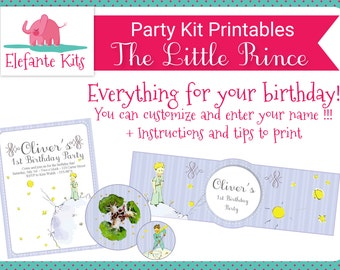 Printable Kit with editable text - The Little Prince - Le Petit Prince-  Give your name to your Birthday!