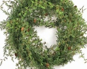 Nordic Larch Wreath with Petite Larch Cones.  Life-Like Botanicals. 17.5 Inch Diameter.