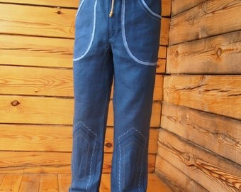 Men's pants Aura/ linen trousers /linen pants\ Flax pants\Embroidered pants\ Pants with pockets