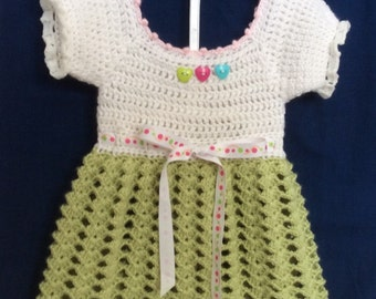 Crochet Baby dress and head band. Beautiful for Spring/Easter