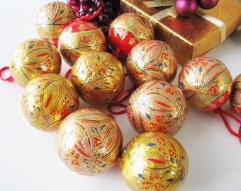 Set of 12 German Paper Mache Christmas Balls in Matching Storage box