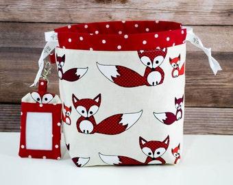 Bringing Foxy Back Sock Knitting Bag, Knitting Project Bag, Drawstring Bag, Small Project Bag, Crochet Bag,