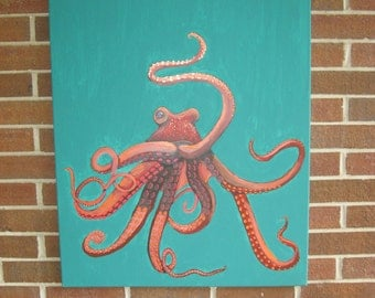Octopus Painting Large Octopus Hand-Painted Octopus Turquoise Coral Teal