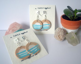 Blue Stipes with White Dot Earrings