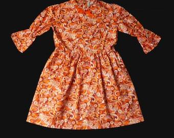 Vintage 60's Orange Psychedelic Floral Dress British Made 10+ Years