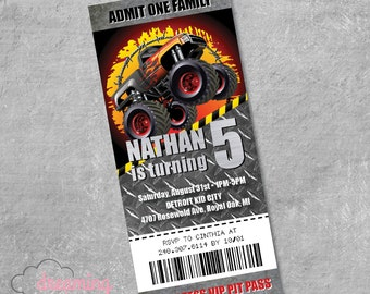Monster Truck Ticket VIP PASS Birthday Invitation - Any age!