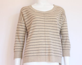 Vintage Women's 100% CASHMERE Tan Striped Sweater with 3/4 Sleeve - Size MEDIUM