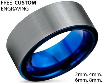 Tungsten Ring Mens Black Purple Wedding Band By