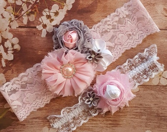 Pink and Gray Wedding Garter Set,Gray and Pink Wedding Garters,Pink and Gray Lace Garters,Gray Pink and White Wedding Garter,Wedding Garters