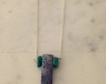 Sugilite & Turquoise Stone Necklace, Raw Stone, Rectangle Neckalce, Turquoise