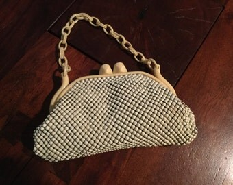 Whiting & Davis  1940's ALUMESH  Purse with Bakelite and Celluloid