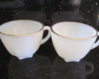 2 Fire King Golden Shell Lunch Cups-Anchor Hocking - Item #1179