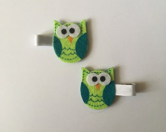 Green Owl Hair Clips