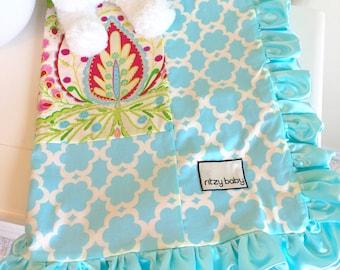Kumari Garden Teja Pink, Blue Tarika & Hot Pink Minky Baby or Toddler Blanket