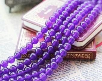 Blue Purple Chalcedony Beads, Full Strand 4 6 8 10 12mm Blue Chalcedony Gemstone Beads for Jewelry Making