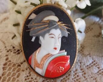 Vintage Toshikane Enamel Geisha Brooch Vintage Arita Japan Geisha Pin Brooch