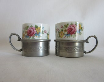 H+ S Made IN W. Germany Vintage Porcelain Demitasse Cup & Zinn Cup Holder with handle