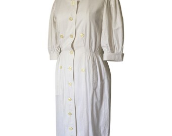 1980's White Cotton Peasant Style Dress with Buttoned up Front
