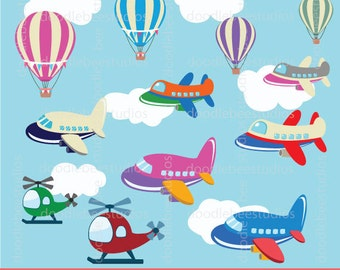 Air Transportation Clipart, Air Transport Clip Art, Air Vehicles Clipart, Vehicles Clip Art, Airplanes Clipart, Hot Air Balloons,Helicopters