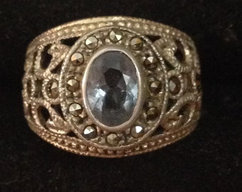 Topaz marcasite sterling silver ring size 5.75
