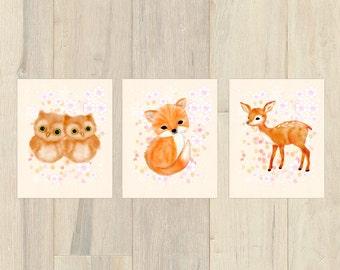 Fox nursery, nursery print set, nursery girl, baby girl nursery set, fawn nursery, owl nursery, nursery wall art, nursery art set of 3