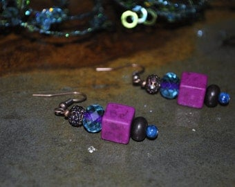 Magenta Teal Earrings -022
