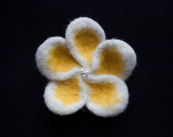 White and Yellow Felted Flower Brooch