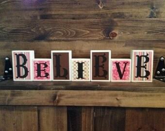 "Handmade ""Believe"" Wooden Block Home Decor"