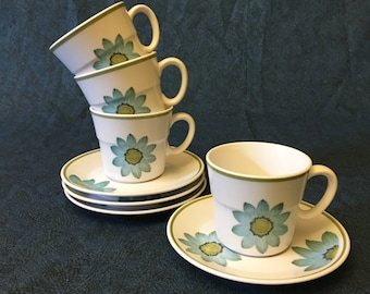 Vintage Noritake Progression Up Sa Daisy Cups and Saucers, Set of 4, Mid Century Dishes, Retro Blue Daisy Dishes