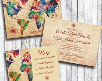 Travel Themed Wedding Invitation with RSVP Card