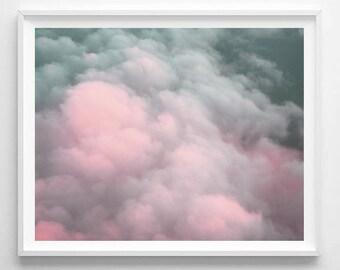 Pastel print, Clouds print, Nature, Minimalist, Modern Wall decor, Digital art, Printable, Digital art Instant Download 8x10, 11x14, 16x20