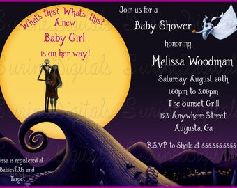 Nightmare Before Christmas Baby Shower  Invitation, Nightmare B4 xmas Halloween baby Invite, Jack and Sally expecting baby shower Invite