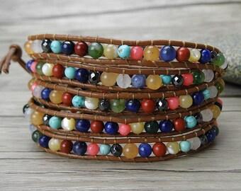 gypsy wrap bracelet bead leather bracelet boho gemstone bracelet mixed colors bead bracelet chic leather wrap bracelet yoga jewelry SL-0315