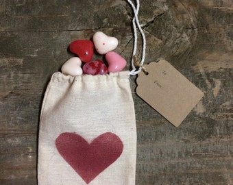 Heart Gift Favor Bag with Tag