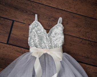 Silver Tulle Flower Girl Dress, Gray sequin dress, Gray Tulle, Navy Grey Cream Wedding, Sash Belt set, Gold glitter dress, Tutu dress