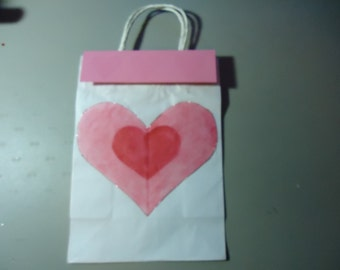 Gift bag one of a kind. Removable topper and gift tag. Valentines. Pink and red 2.00 discount if purchasing set of 5