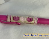 Hearts Valentine Beaded pen cover sleeve G2 peyote pink hand bead weaving gift